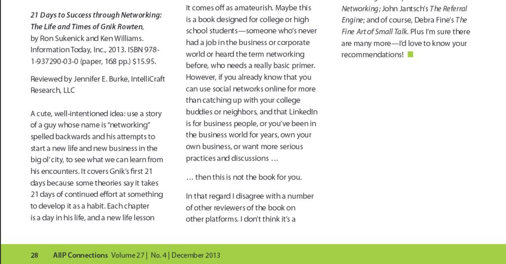 Jennifer Burke Dec 2013 article book review business networking