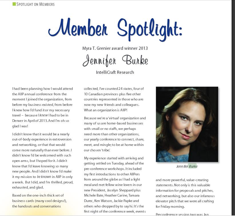 June 2013 AIIP Connections article Jennifer Burke member spotlight
