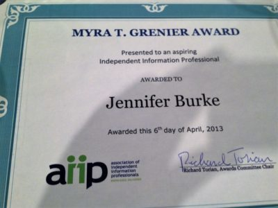 2013 AIIP Grenier new independent info pro award