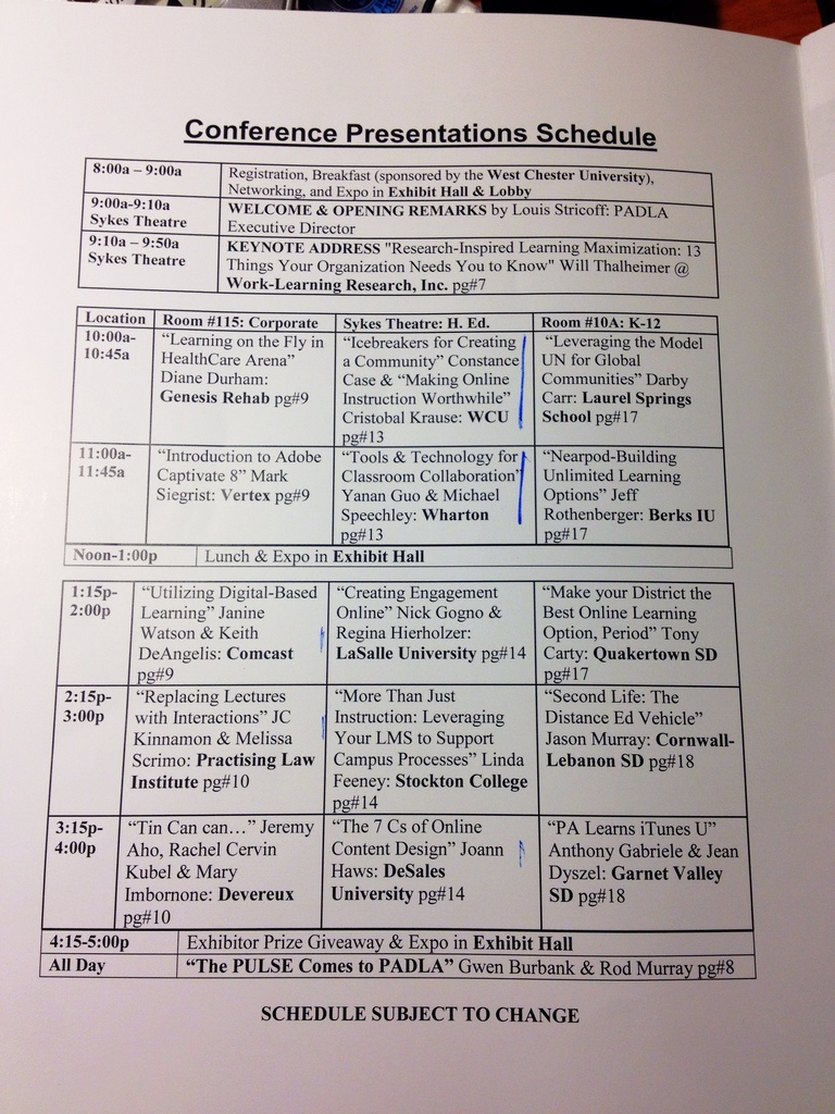 PADLA e-learning event schedule 12-14