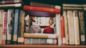 library books users man woman peek view