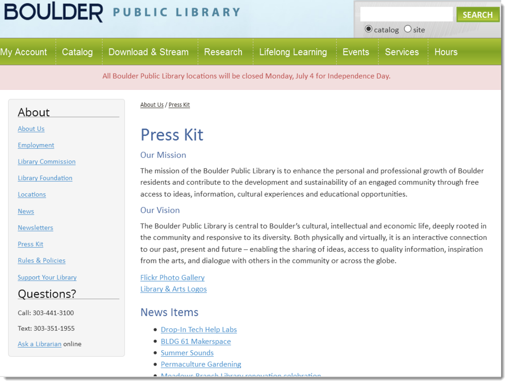 Boulder Public Library press kit marketing example