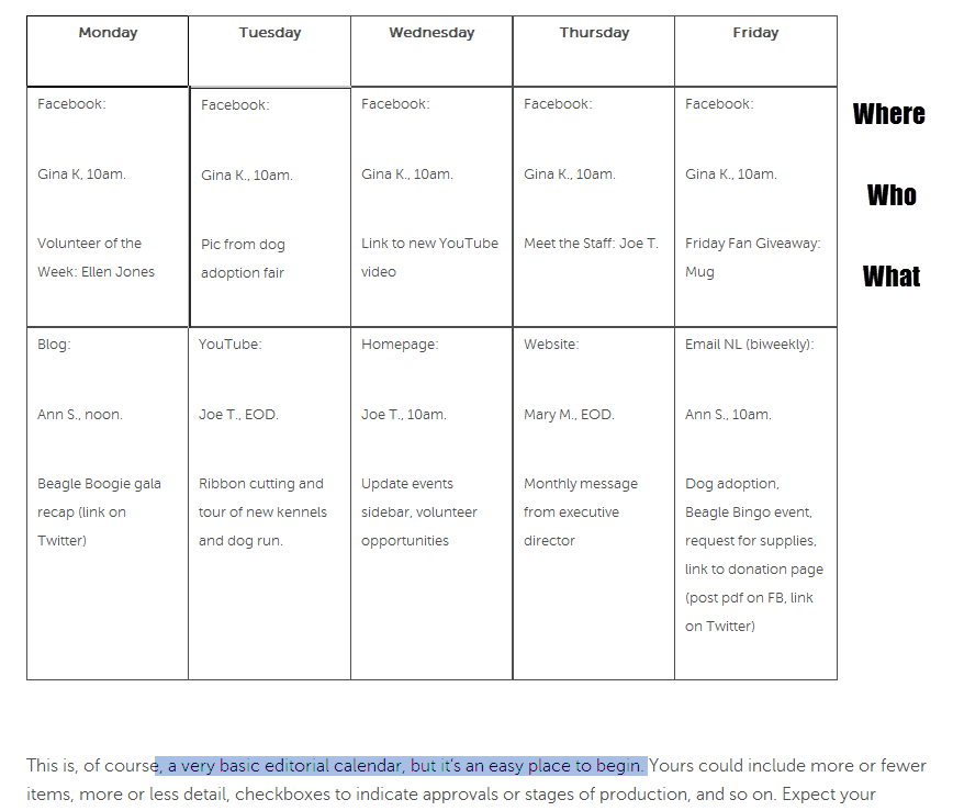 Basic sample nonprofit marketing editorial calendar