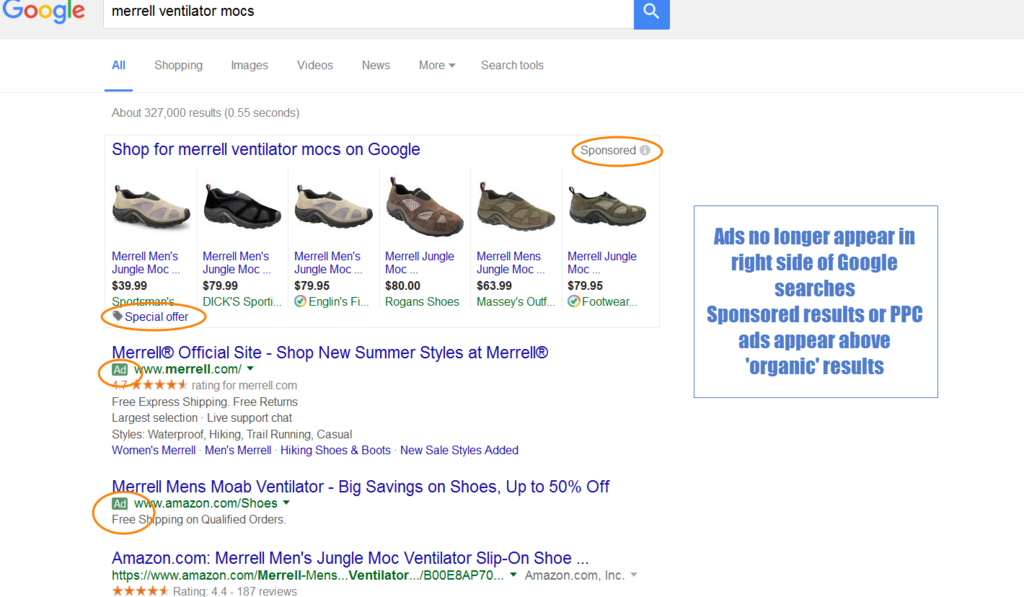 Google PPC paid ads example