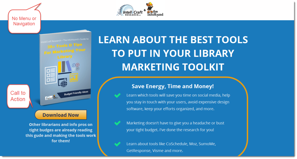 IntelliCraft's library marketing landing page