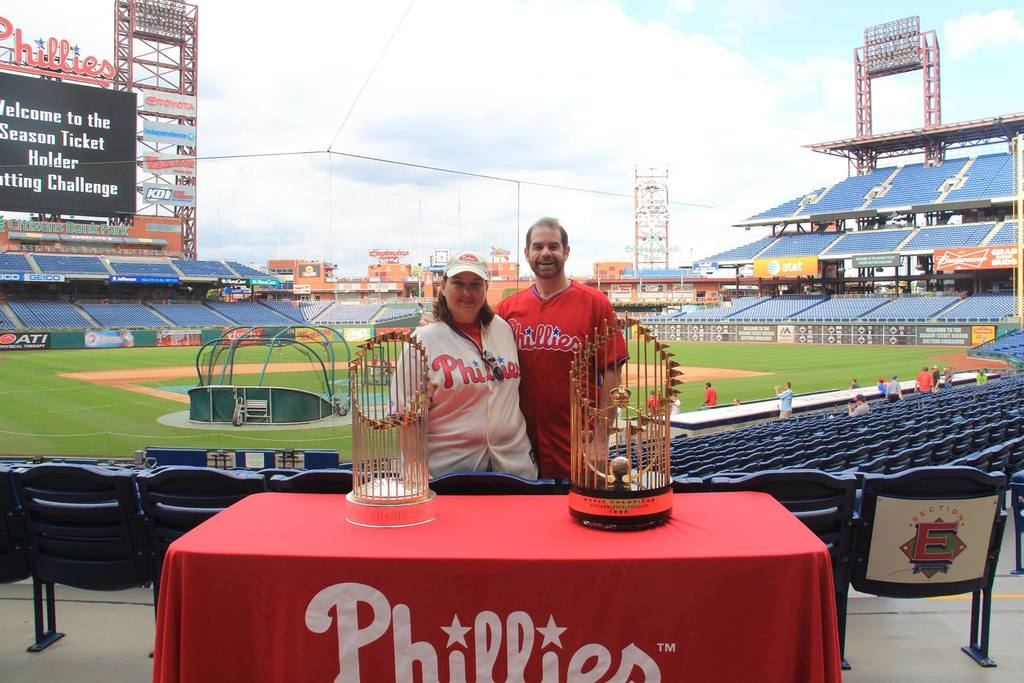 With the Phillies 2 World Series trophies
