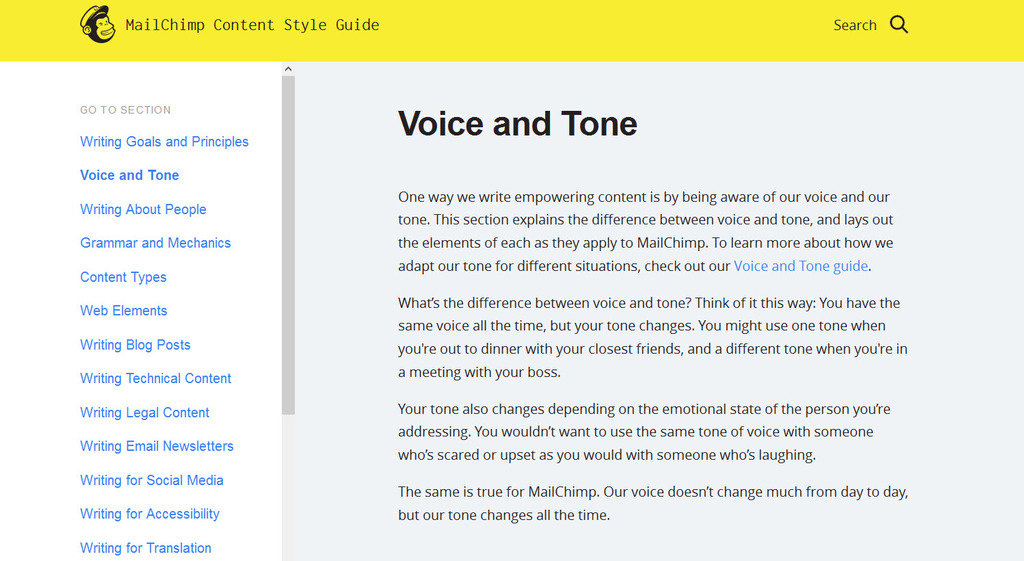 example of style guide from MailChimp