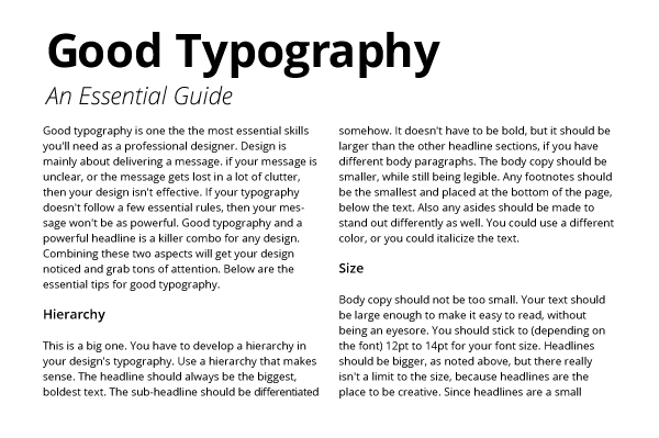 Good typography hierarchy headlines subheads
