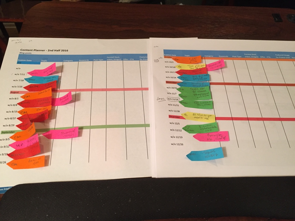 6-months-weekly-content marketing planning with small arrow sticky notes