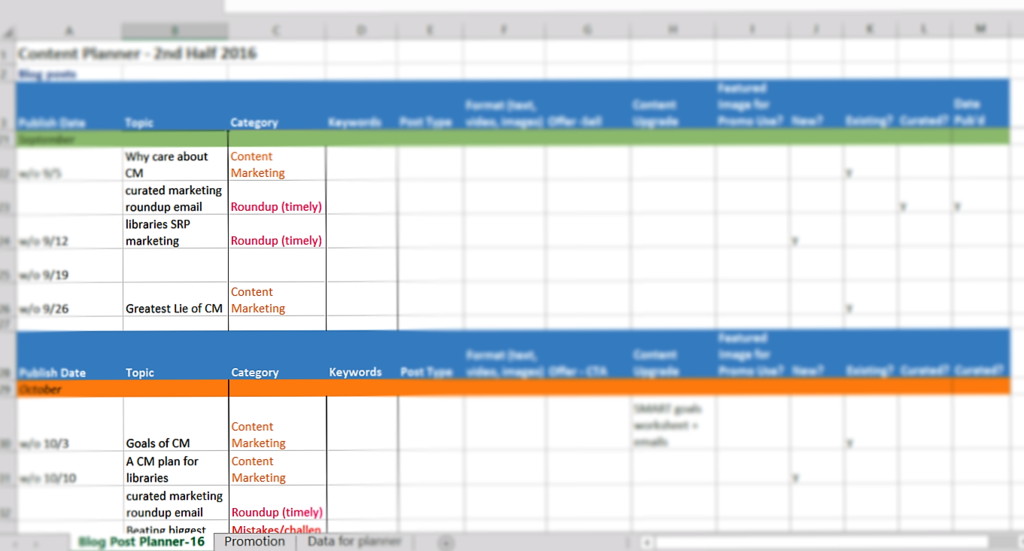 IntelliCraft's sticky notes into Excel content planner