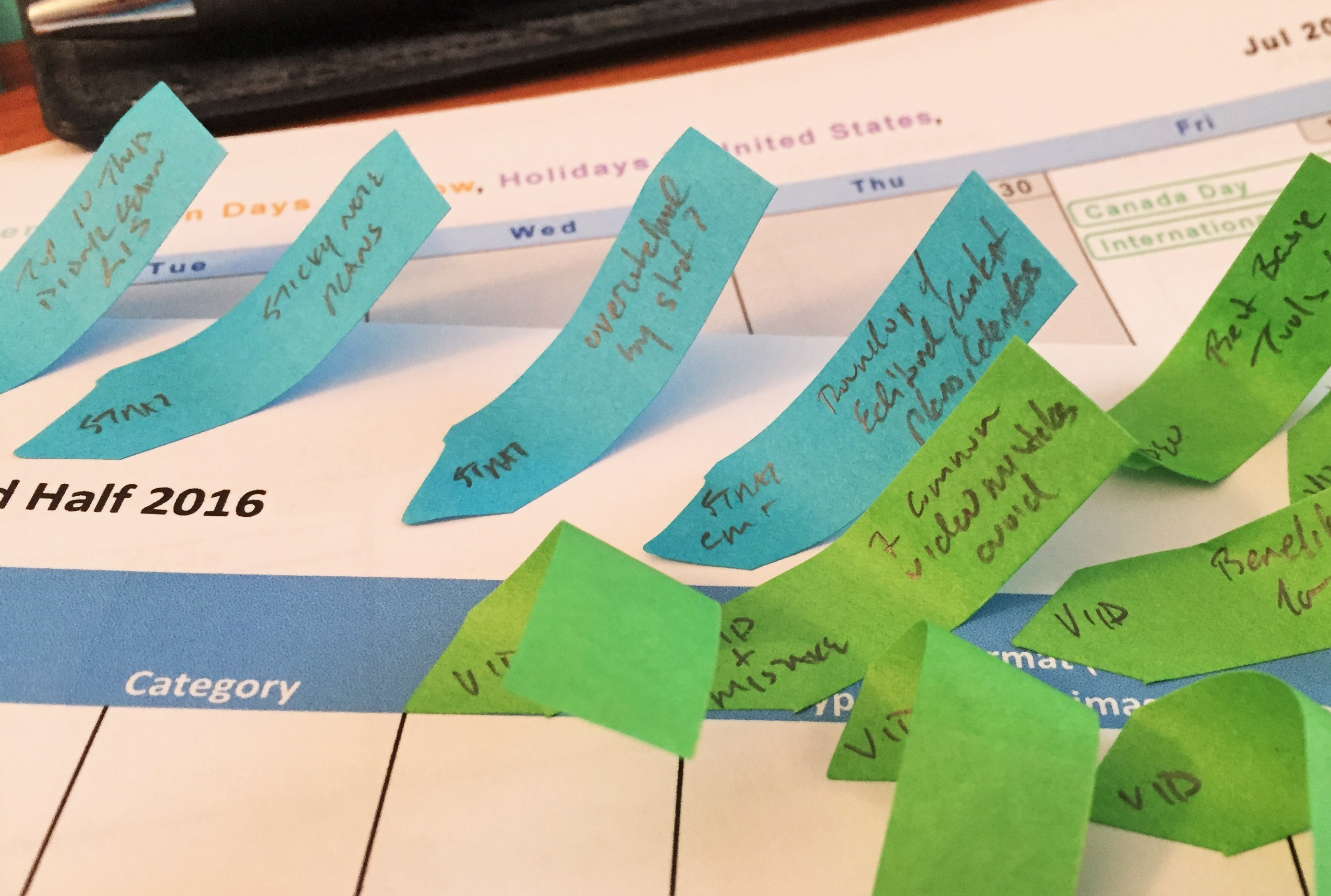 detailed topics in content planning with sticky notes