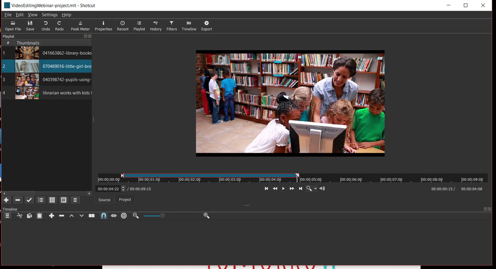 Shotcut free video editor interface