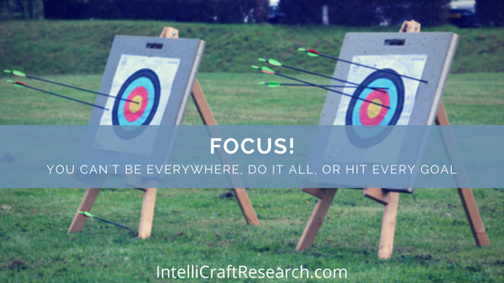 keep focus on targets can't hit every goal of content marketing or be everywhere