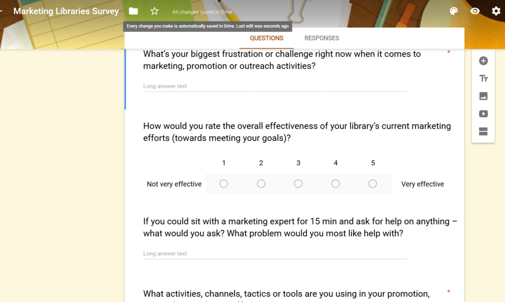 Google Forms sample library marketing survey