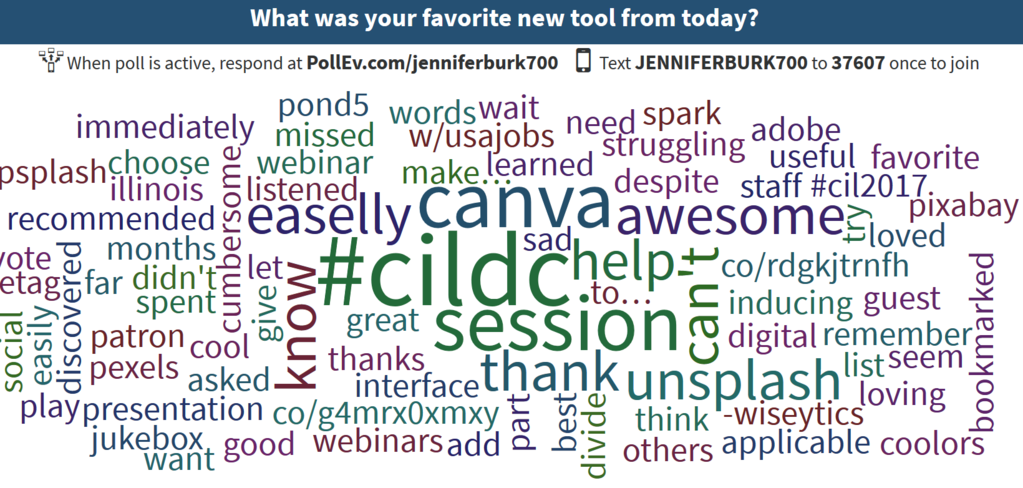 Poll Everywhere results wordcloud