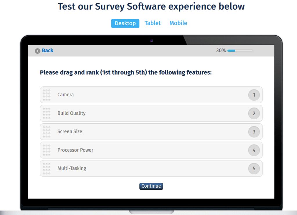 Question Pro demonstration screen