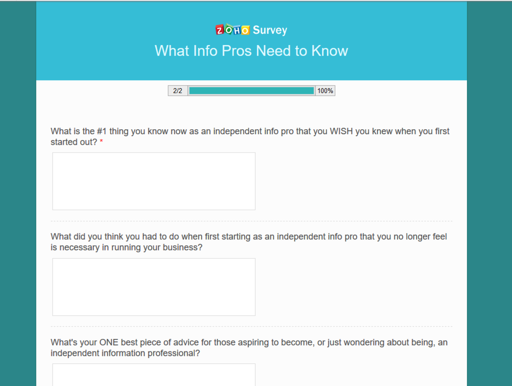 Zoho Survey sample library marketing survey