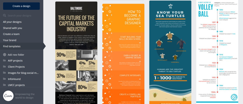 Canva design templates infographics for education examples