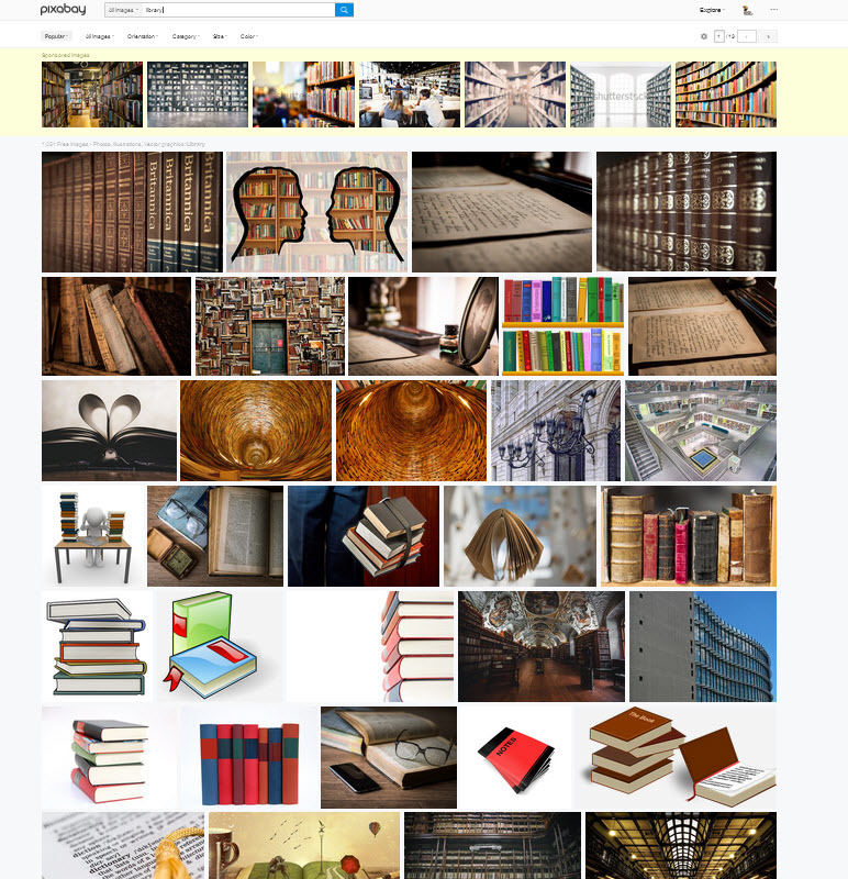 "Pixabay search results screen for ""books"""