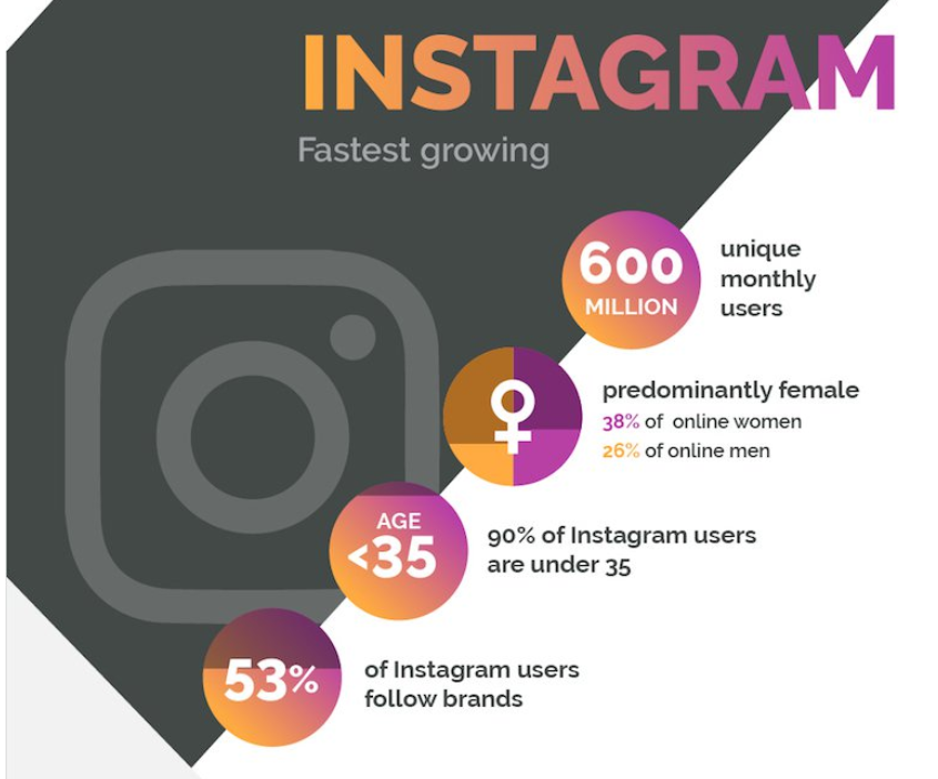 Instagram users demographics chart from Social Media Today
