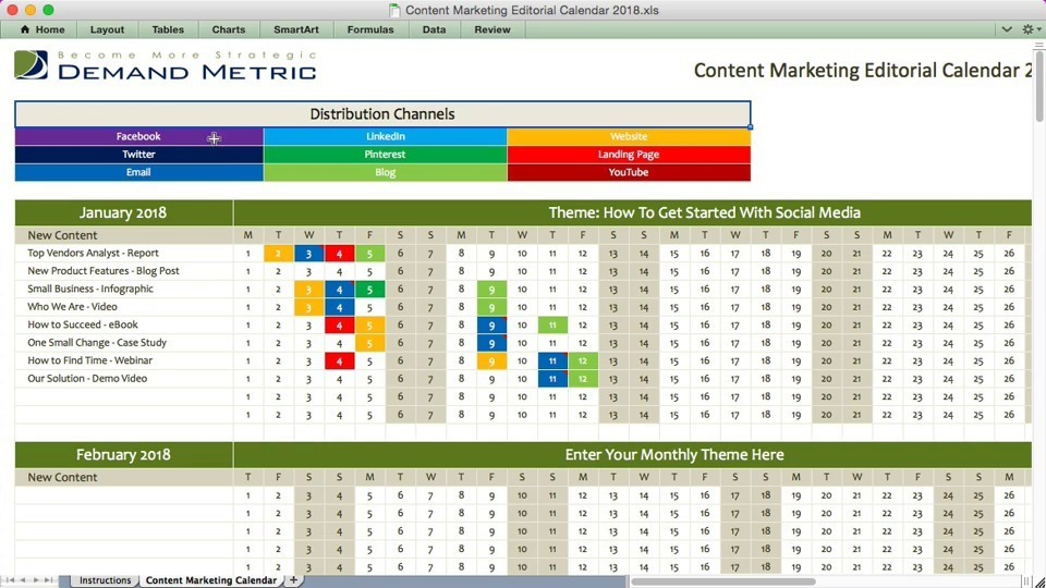 sample content calendar from American Marketing Association with color coding