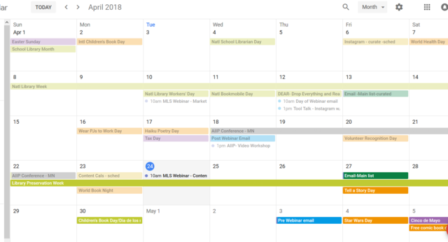 Jennifer's IntelliCraft content calendar in Google Calendars Fun Days marked