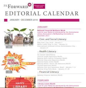 themed editorial content calendar PA Library Association