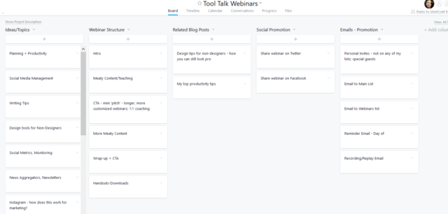 Asana planning board for Marketing Tool Talk webinars