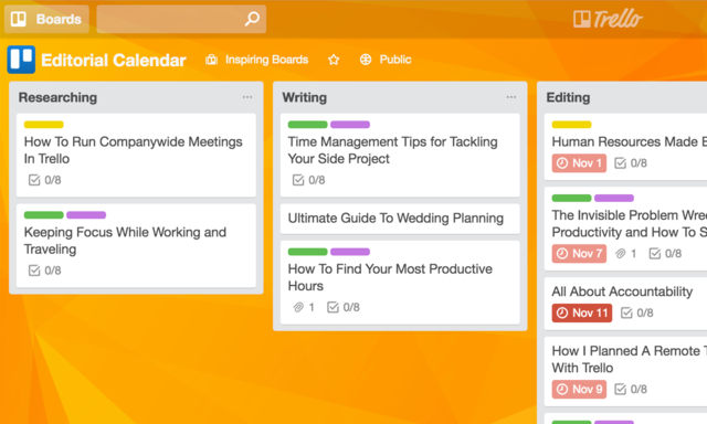 sample template editorial marketing calendar in Trello