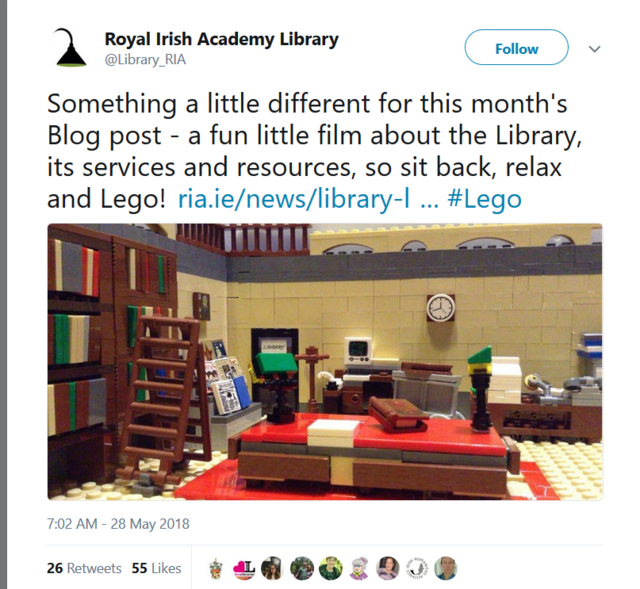 Social Media Marketing Libraries show personality humor Royal Irish Academy Library Legos