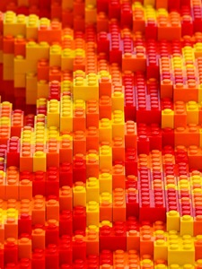 integrated red yellow orange lego pieces