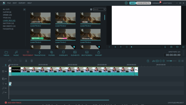Filmora video editing software timeline